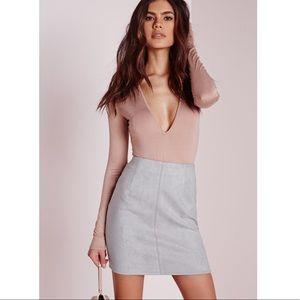 High Waisted Soft Grey Vegan Suede Skirt